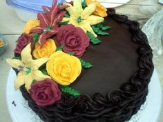 Chocolate cake with royal Icing flowers