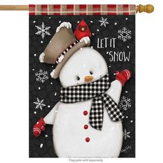 Briarwood Lane Celebrate Winter Snowman Primitive House Flag Cardinal Snowflakes x Christmas Mantels, Christmas Wreaths, Christmas Crafts, Christmas Ornaments, Christmas Drawing, Christmas Paintings, Christmas Truck, Christmas Snowman, Outdoor Christmas Tree Decorations