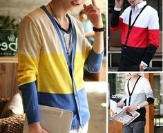 Men's Stripped Knit Cardigan (Red,Gray,Yellow) now only $30.66 ! (reg 47.95) at Myasiatrade.com