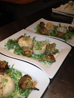 Sauteed sea scallops with crispy baby artichokes and truffled balsamic vinaigrette