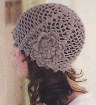 Gray Hat with Flower free crochet graph pattern