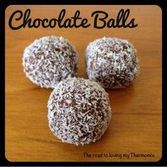 Chocolate Balls 250g shortbread biscuits, broken up 20g cocoa powder 200g sweetened condensed milk Coconut for sprinkling