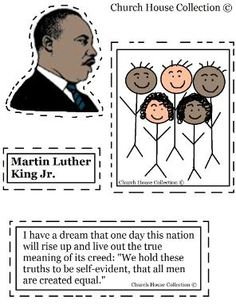 Church House Collection has free printable Martin Luther King Jr Craft Cutout Activity for kids. Use for school and let the kids cut the pictures out and paste down on construction paper. We have more Martin Luther King Jr Crafts for Children. Martin King, Martin Luther King Day, Mlk Jr Day, Kindergarten Crafts, Preschool Curriculum, Preschool Classroom, Classroom Activities, Preschool Ideas, Kings Day