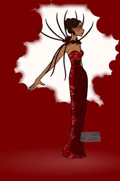 Red dress ~ by ToTheMoon ~ created using the Erte Elegance doll maker | DollDivine.com