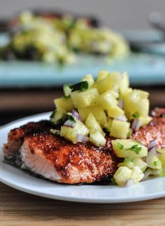 BBQ Spiced Salmon with Pineapple Jalapeño Salsa | howsweeteats.com
