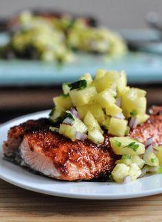BBQ Spiced Salmon with Pineapple Jalapeño Salsa   howsweeteats.com