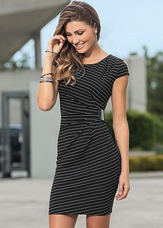 Black and white pinstripe buckle dress by VENUS available in sizes 2 - 16