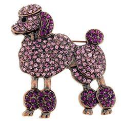 Purple Poodle dog Amethyst Crystal Pin Brooch - Fantasyard Costume Jewelry & Accessories