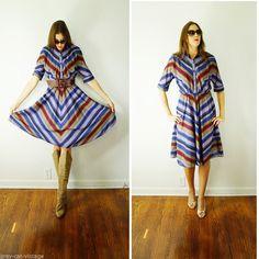 VINTAGE 1970s American Shirt Dress Chevron Fall Colors Big Skirt POCKETS Small #AmericanShirtdress