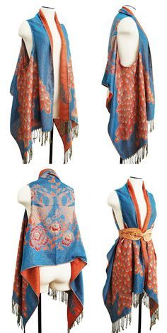 Project: DIY draped vest from scarf. This would be a funky thing to do with one of those Turkish pashmina scarves. : Project: DIY draped vest from scarf. This would be a funky thing to do with one of those Turkish pashmina scarves. Diy Clothing, Sewing Clothes, Bohemian Clothing, Bohemian Jewelry, Sewing Shirts, Men Clothes, Clothing Styles, Bohemian Style, Diy Fashion