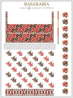Semne Cusute: IA AIDOMA 23 - Basarabia, ROMANIA Folk Embroidery, Embroidery Patterns, Cross Stitch Patterns, Hama Beads, Beading Patterns, Romania, Pixel Art, Diy And Crafts, Folk Art