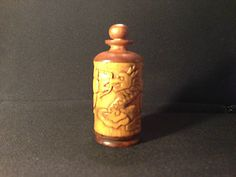 Unusual bamboo wood snuff bottle with carving of two Chinese dragons