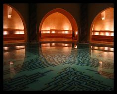 Geometric mosaic tile patterns. Turkish bath (hamam)