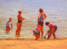 "Daily+Paintworks+-+""#61+Beach+conversation""+-+Original+Fine+Art+for+Sale+-+©+Nancy+Wallace"