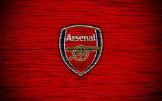 Download wallpapers Arsenal, 4k, Premier League, logo, England, wooden texture, The Gunners, FC Arsenal, soccer, football, Arsenal FC