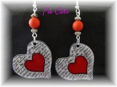 "Boucles d'oreilles pendantes forme ""Gros coeur "",en plastique fou,dingue : Boucles d'oreille par fee-cali Diy Crafts Jewelry, Bead Crafts, Jewelry Art, Beaded Jewelry, Handmade Jewelry, Jewellery, Shrink Art, Shrink Film, Shrink Plastic Jewelry"