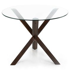 The contemporary 3 angled wood posts intersect to create a unique and stylish base for the Kennedy Dining Table by Poly and Bark. Features solid rubberwood construction with a striking natural wood veneer and a sturdy round tempered glass tabletop. Glass Round Dining Table, Pedestal Dining Table, Solid Wood Dining Table, Glass Extension, Extension Table, Find Furniture, Dining Furniture, Wood Frame Construction, Mid Century Modern Kitchen