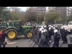 """Meanwhile In Brussels, Farmers Take On The Riot Police With """"Hay Cannon"""" - http://www.therussophile.org/meanwhile-in-brussels-farmers-take-on-the-riot-police-with-hay-cannon.html/"""