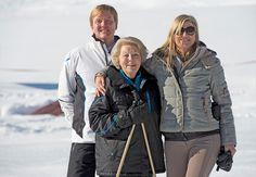 Oostenrijk, 18 februari 2013: De Koningin, de Prins van Oranje en Prinses Máxima tijdens de winterfotosessie in Lech
