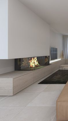Fireplace Feature Wall, Fireplace Tv Wall, Modern Fireplace, Fireplace Design, Le Living, Living Spaces, Living Room, Home Theater, Cinema Room