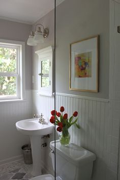 Bathroom with white panelling and restful wall colour. Doing this in my hall bath this weekend.