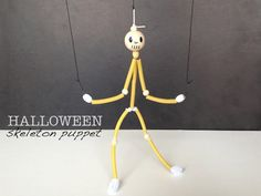 Turn pasta & pipe cleaners into a super fun DIY Skeleton Marionette for Halloween!