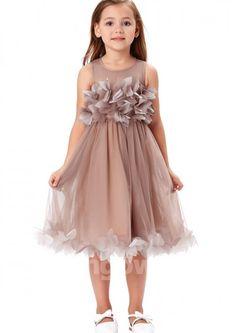fa1c2ab032 Scoop Tulle Ruched Full Back Tea Length Sleeveless A-line Flower Girl Dress