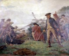 """Bunker Hill - Fight at the Rail Fence"" by John Ward Dunsmore"