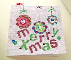 Christmas Cards Five PK,'Baubles & Buttons',Handmade Xmas Cards