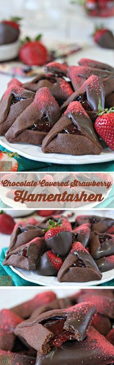 Chocolate-Covered Strawberry Hamantaschen Chocolate-Covered Strawberry Hamantashen – try something a little different this Purim! Biscuits, Chocolate Covered Strawberries, Filled Strawberries, Jewish Recipes, Chocolate Cookies, Chocolate Art, Chocolate Dipped, Vegetarian Chocolate, Holiday Recipes