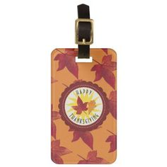 Fall Leaves Maple Thanksgiving Luggage Tag - rustic gifts ideas customize personalize