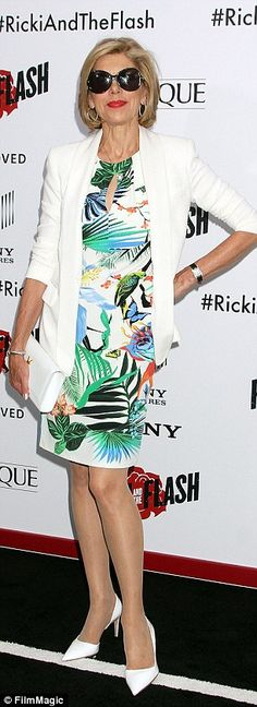 Premier style: Actress Christine Baranski arrived in a tropical print dress and sunglasses...