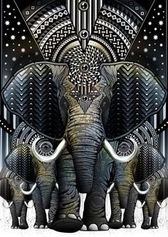 Elephant illustration by EOS-Vector. Image Elephant, Elephant Love, Elephant Art, Elephant Pattern, Elephant Design, African Elephant, Psy Art, Elephant Tattoos, Psychedelic Art