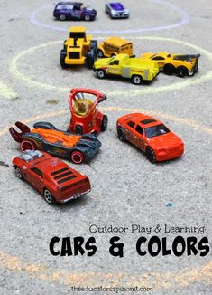 Car Color Sort: Outdoor Math for Littles who LOVE Matchbox Cars Outdoor Car Play and Learning Cars and Colors Cars Preschool, Transportation Preschool Activities, Color Activities For Toddlers, Science For Toddlers, Preschool Colors, Toddler Learning Activities, Outdoor Activities For Kids, Outdoor Learning, Transportation Crafts