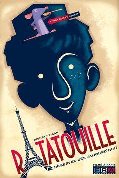 Very cool retro style Ratatouille movie poster - by Disney/Pixar animator Eric Tan  | #movies #posters #ratatouille