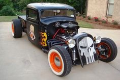 1936 Chevy Rat Rod Truck, nicely finished. Retro Cars, Vintage Cars, Antique Cars, Old Trucks, Chevy Trucks, Classic Trucks, Classic Cars, Rat Rod Pickup, Rockabilly Cars