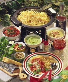 Receitas - Fondue de esparguete com molhos diferentes - Petiscos.com