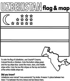 use crayola crayons colored pencils or markers to color the flag of uzbekistan