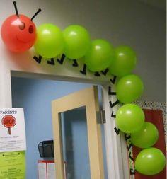 Very Hungry Caterpillar balloon decoration idea (image via Linworth Children's Centre)
