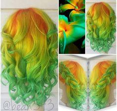 Orange, yellow, green hair