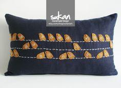adorables...must have Sukan / Linen Felt Birds Pillow Cover 12x20 inch by sukanart. $55.50, via Etsy.