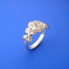 Silver Rose Ring , Hand Made Solid Silver Jewelry Jewellery. $41.00, via Etsy.