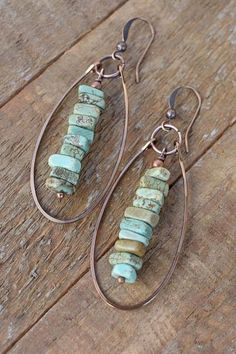 Turquoise earrings, turquoise jewelry, copper jewelry, boho dangle earrings, southwestern jewelry, bohemian earrings, bohemian jewelry | Shop beautiful natural gemstone jewelry in modern, chic, boho, elegant styles. Buy crystal handmade handcrafted artisan art jewelry & accessories. #jewelry #beaded #beadedjewelry #product #gifts #shopping #style #fashion
