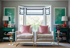 Homepolish Los Angeles: Gray Malin + One Kings Lane: The Living Room | This beloved photographer gets a color-splashed preppy pad - 1