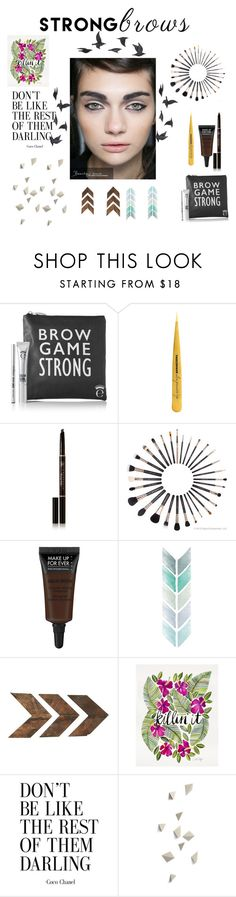 """Brow strong"" by savanahrose105 ❤ liked on Polyvore featuring beauty, Tweezerman, Anastasia Beverly Hills, MAKE UP FOR EVER, Jayson Home, BeautyTrend, strongbrows and boldeyebrows"