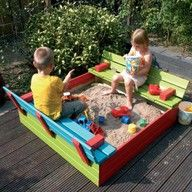 Like this idea - would want to make a quick pull-over and clip cover to keep out neighborhood cats...  Maybe use a tarp and grommets and an angled screw-in hook?  I like this painted, too.  Anything to keep the splinters to a minimum.  I could really go overboard and make some mini bench cushions.  Over-protective mom?  What? Me?!  Nahhhhhh.  :)