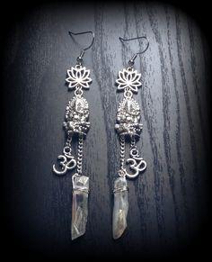 Handmade zen earrings with silver Ganesh, ohm, and lotus flowers, angel aura quartz crystals on silver chain #yoga #meditation #reiki #crystals #quartz #jewelry