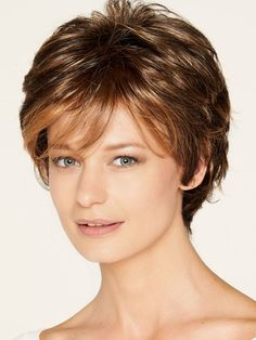 Petite Dee Wig by Aspen Collection - The HeadShop Wigs Short Hair Cuts For Women Edgy, Short Haircuts With Bangs, Cute Hairstyles For Medium Hair, Hair Styles For Women Over 50, Short Sassy Hair, Haircuts For Fine Hair, Short Hair With Layers, Permed Hairstyles, Medium Hair Styles