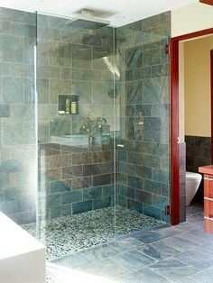 Shower floor level with bathroom floor. Great as we age.