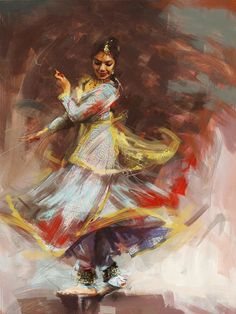 Zakir Print featuring the painting Classical Dance Art 8 by Maryam Mughal